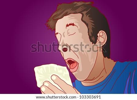 illustration of man have sneezing holding white tissue - stock vector