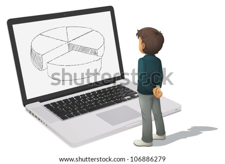 illustration of man looking at pie chart on computer - stock vector