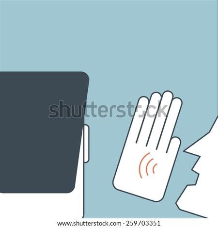 Illustration of man speak to ear to tell something - stock vector