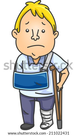 Illustration of Man With an Injured Arm and Leg - stock vector