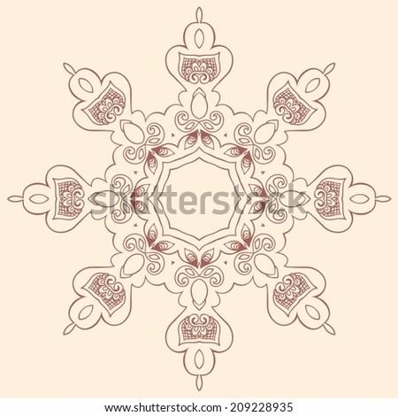 Illustration of mandala design. Concept image for card, yoga studio, meditation, spirituality, Indian, Arabic or Thai cuisine restaurants ads, tattoo salon. Round for paisley (mandala) - stock vector. - stock vector