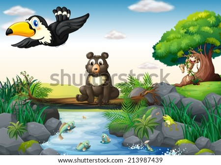 Illustration of  many animals around the stream - stock vector