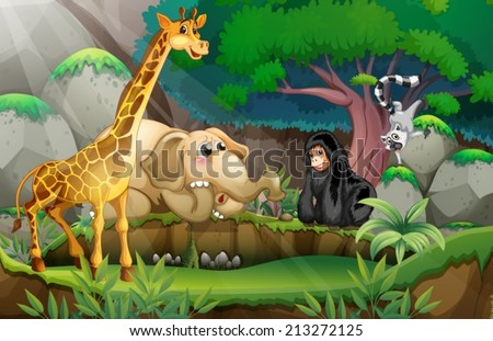 Illustration of many animals in a jungle - stock vector