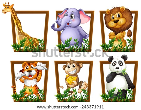 Illustration of many animals in a wooden frame - stock vector