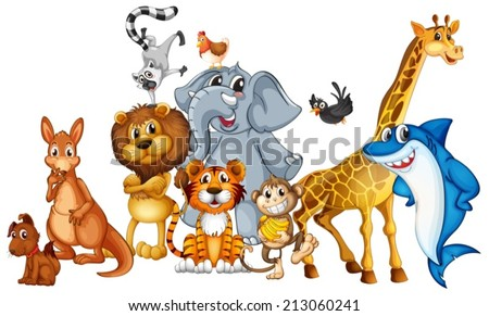 Illustration of many animals standing - stock vector