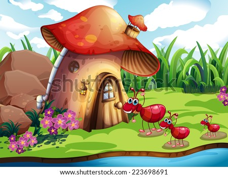Illustration of many ants and a mushroom house - stock vector