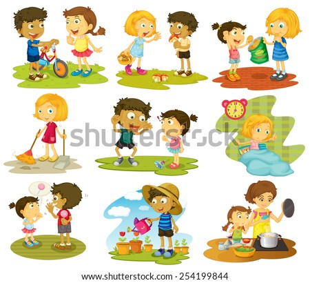 Illustration Many Children Doing Chores Activities Stock
