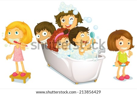 Illustration of many children taking a bath - stock vector
