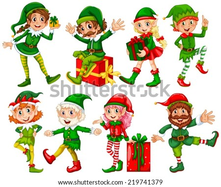 Illustration of many elfs with presents - stock vector
