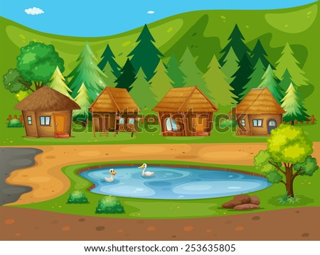 Illustration of many huts by the pond - stock vector