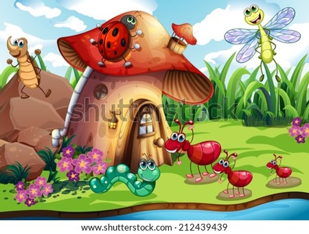Illustration of many insects by the river - stock vector