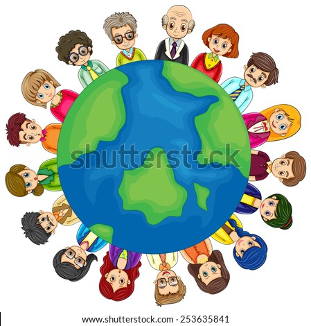 Illustration of many people around the world - stock vector