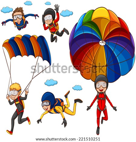 Illustration of many people doing parachutes - stock vector