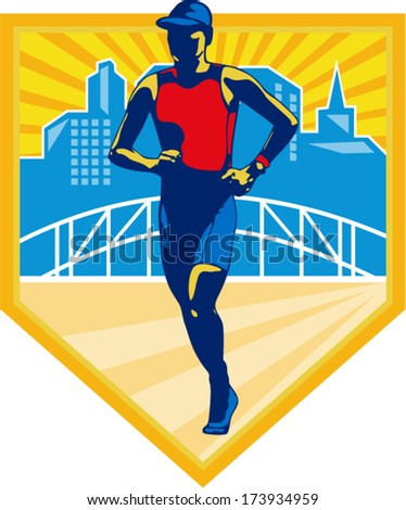 Illustration of marathon triathlete runner running with urban buildings and bridge in background set inside shield done in retro style. - stock vector