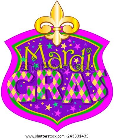 Illustration of Mardi Gras blazon - stock vector