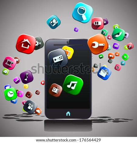 illustration of mart phone and flying around different icons - stock vector