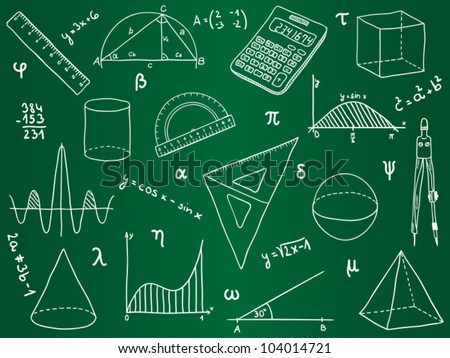 Illustration of mathematics - school supplies, geometric shapes and expressions on school board - stock vector