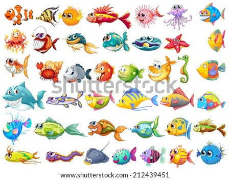 Illustration of may kinds of fish - stock vector