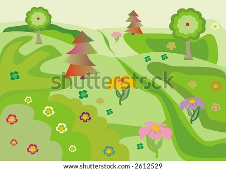 Illustration of meadow in spring with lot of green grass and flowers.