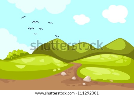 illustration of meadow landscape - stock vector