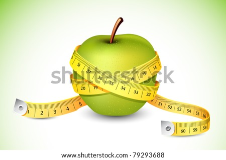 illustration of measuring tape around fresh green apple - stock vector
