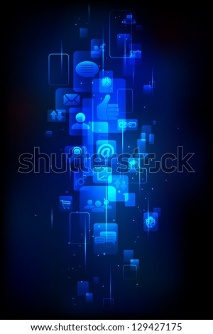 illustration of media icon in technology background - stock vector