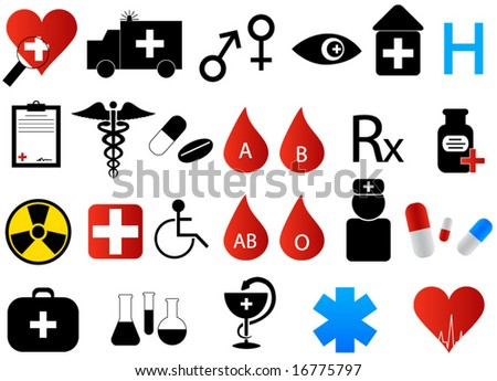 Illustration of medical icons - stock vector