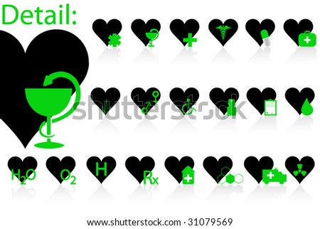 Illustration of medical icons and hearts - stock vector