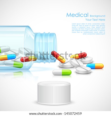 illustration of medicine capsule in transparent bottle - stock vector