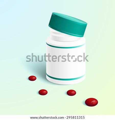 illustration of medicine capsule in transparent bottle. Vector - stock vector