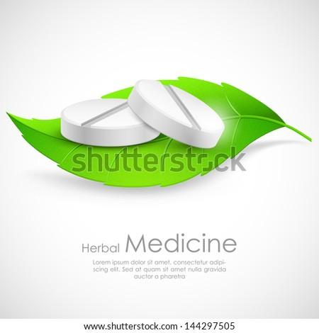 illustration of medicine on leaf showing herbal concept - stock vector