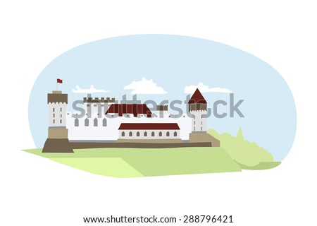 Illustration of medieval castle located in Northern Europe.