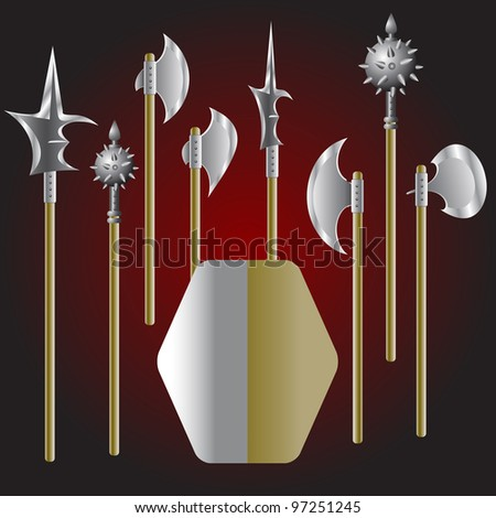 Illustration of medieval weapons and shield - vector - stock vector