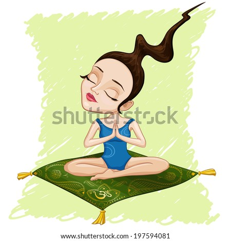 Illustration of meditating girl - stock vector