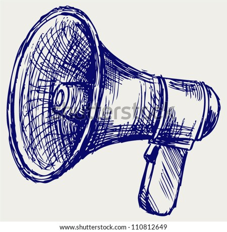 Illustration of megaphone. Doodle style - stock vector