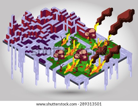 illustration of melt ice showing global warming - stock vector
