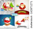 illustration of Merry Christmas background with Santa Claus - stock vector