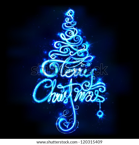 illustration of Merry Christmas in tree shape on abstract background - stock vector