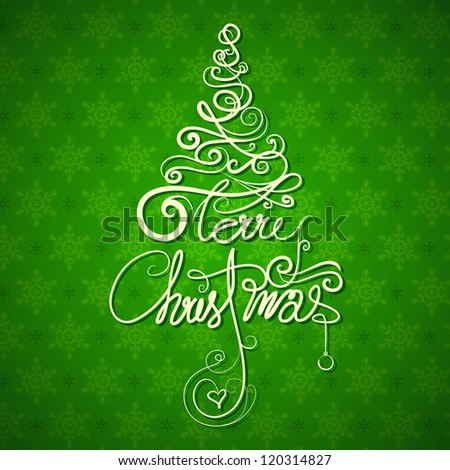 illustration of Merry Christmas in tree shape on snowflakes background