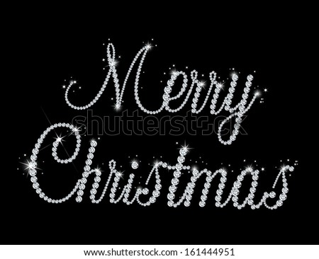 Illustration of Merry Christmas text with diamond. Vector - stock vector