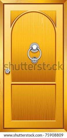 illustration of metal door knob on wooden door - stock vector