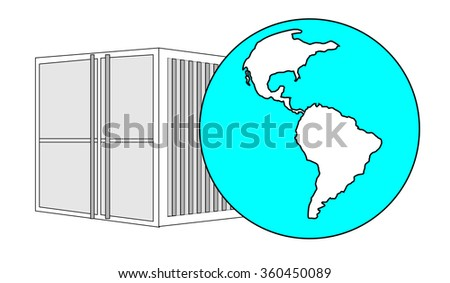 Illustration of metal 40 ft sea container with light blue world globe - stock vector