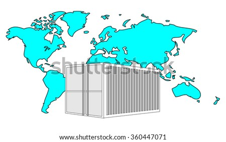 Illustration of metal 40 ft sea container with light blue world map  - stock vector