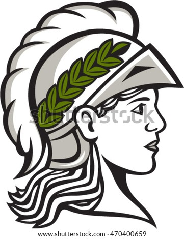 Illustration of Minerva or Menrva, the Roman goddess of wisdom and sponsor of arts, trade, and strategy wearing helment and laurel crown head viewed from side set on isolated white background.