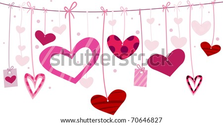 Illustration of Miscellaneous Heart Designs Hanging From a Clothesline - stock vector