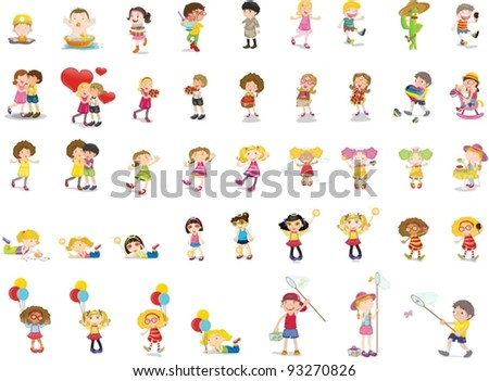 Illustration of mixed children - stock vector