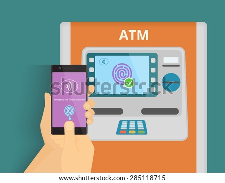 Illustration of mobile access to ATM via smartphone using fingerprint identification. - stock vector