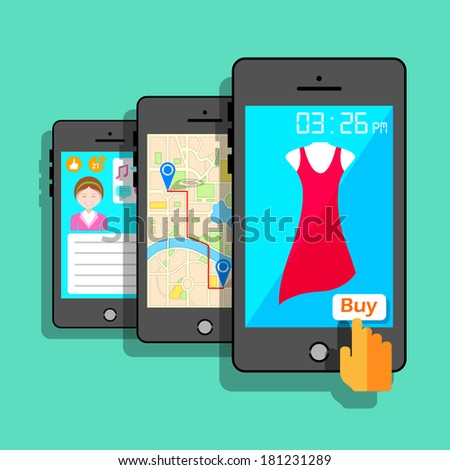 illustration of mobile application concept in flat style - stock vector