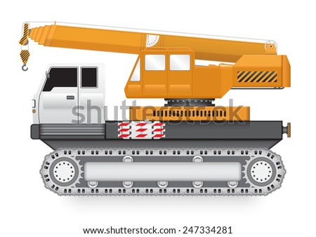 Illustration of mobile crane on heavy truck isolated on white background. - stock vector