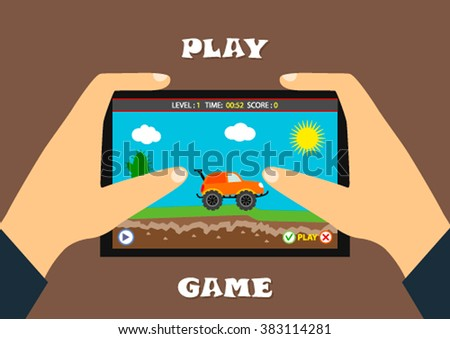 Illustration of mobile gaming application at the landscape level, background, elements, buttons, computer games design. Vector flat game illustrations. Man playing computer games - stock vector